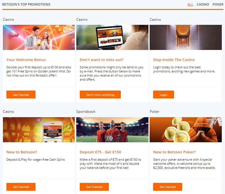 Promotions at Betsson
