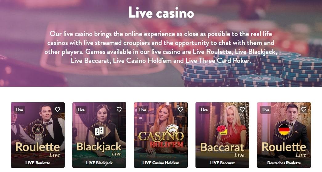 Live Casino lobby