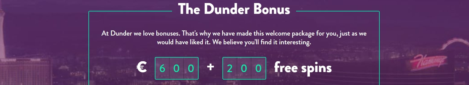 Dunder Welcome bonus