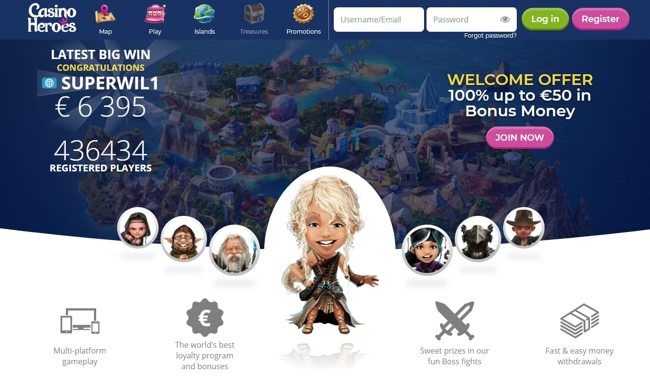 Casino heroes Landing Page