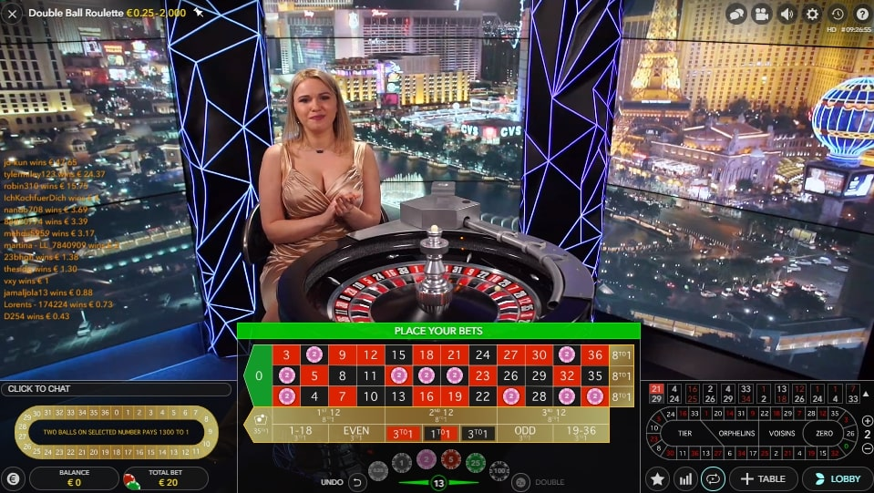 Double Ball Roulette at Casino Joy