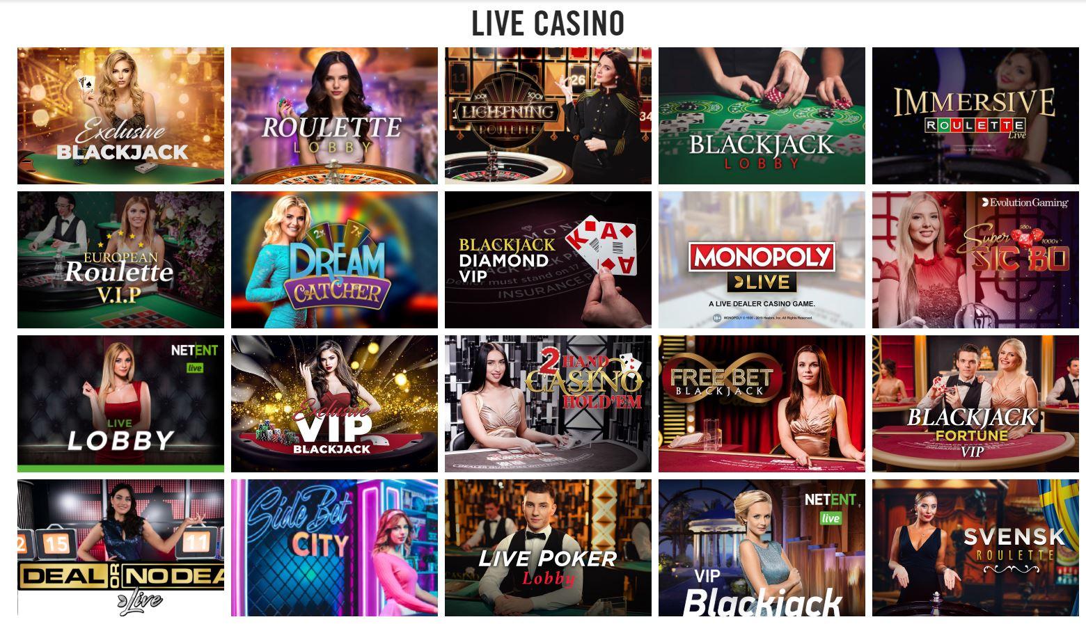 Live Casino lobby at Vegas Hero