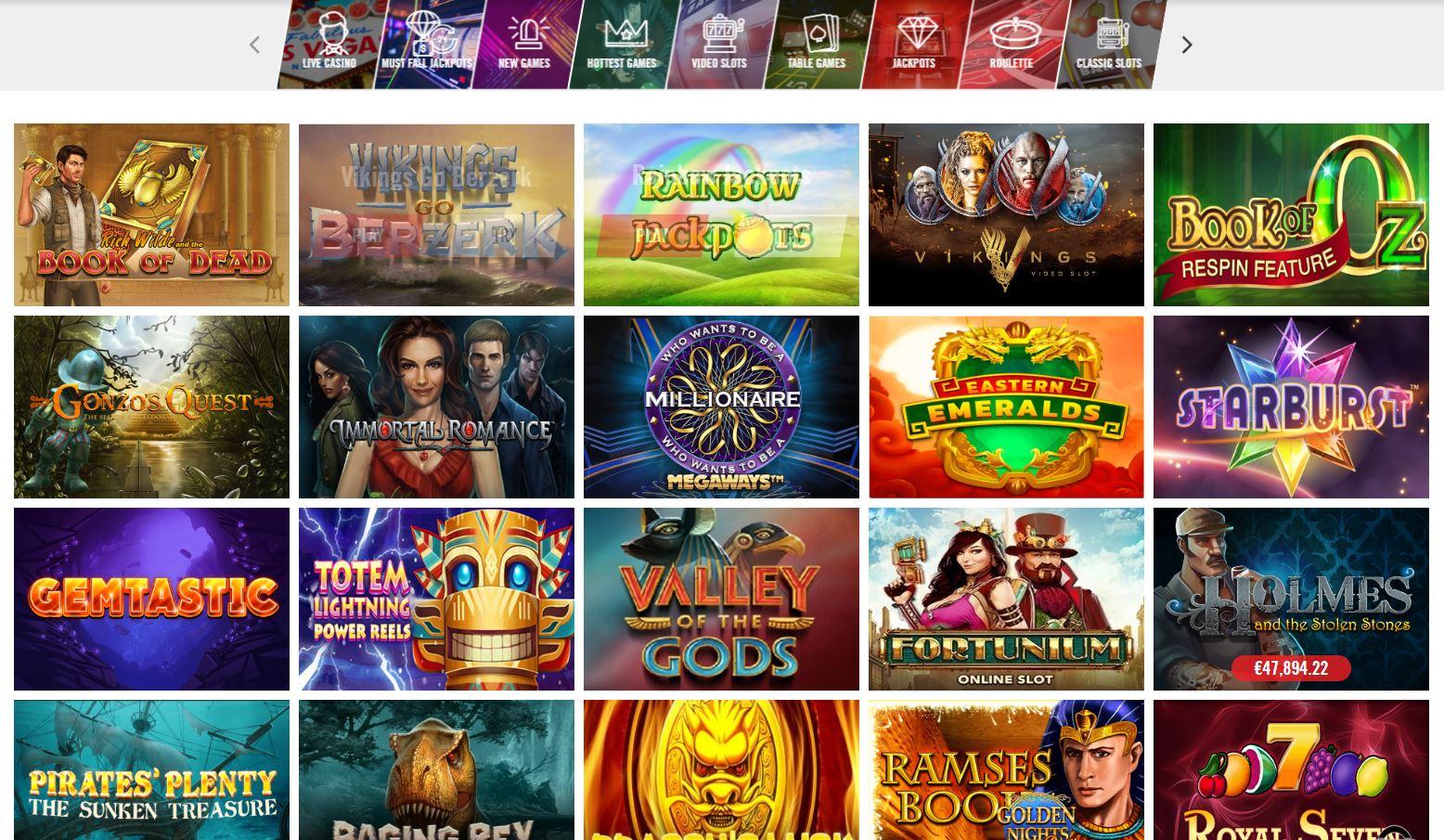 Slots Lobby at Vegas Hero