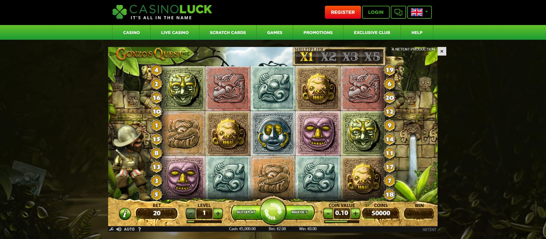 Casino Luck Game Play Page