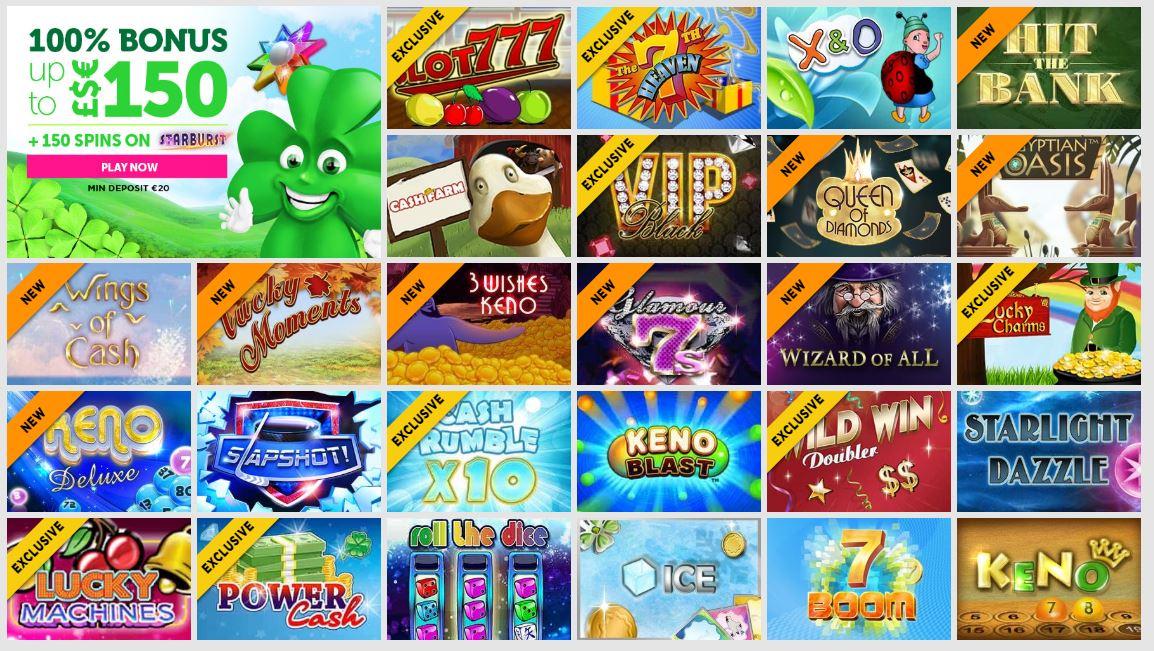 Games lobby at Casinoluck