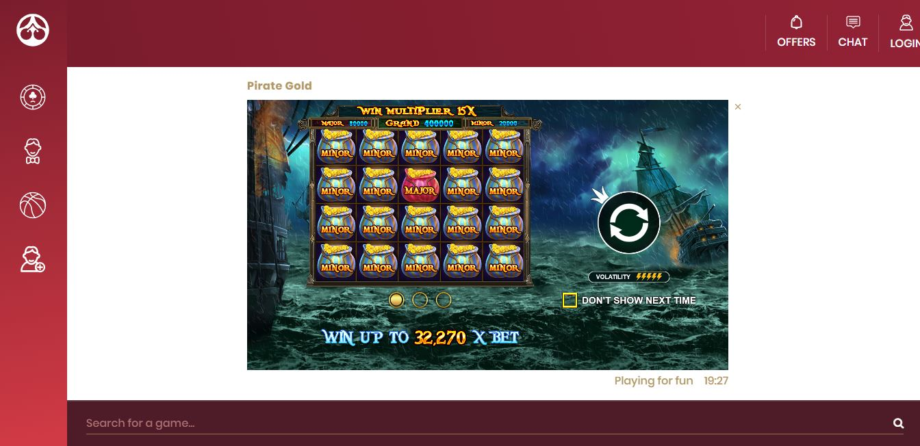 Game Play Page at Cherry Casino