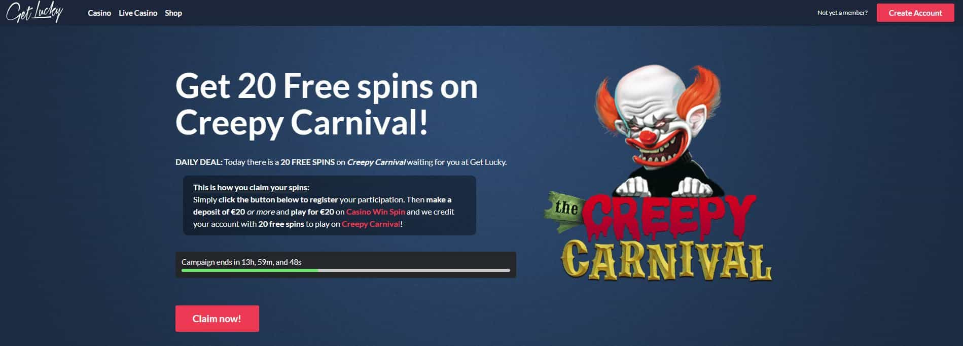 Get Lucky Casino daily deal