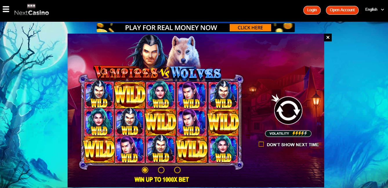 Game Play page at Next Casino