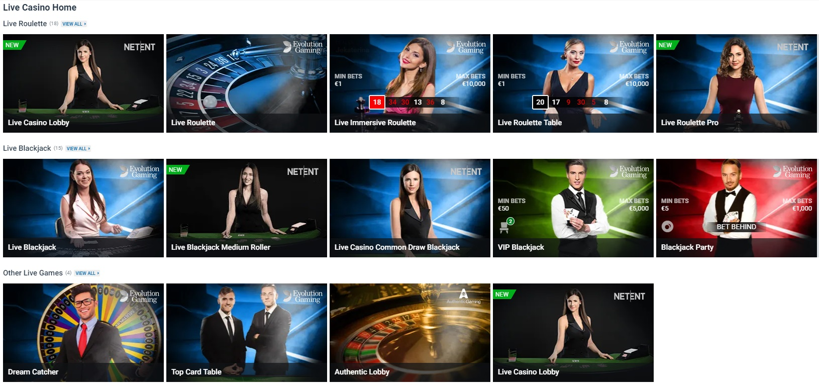 Live Casino lobby at Nordicbet