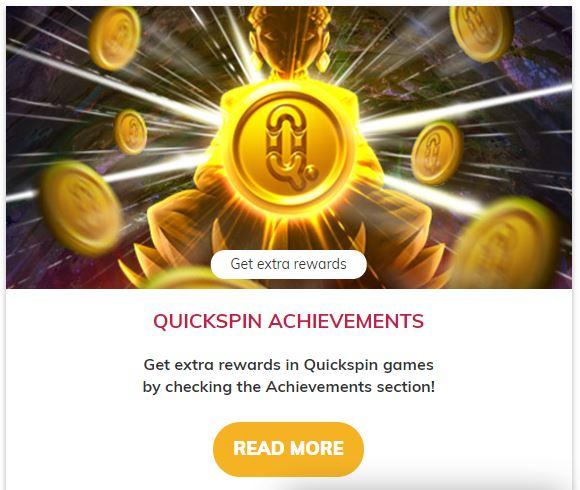 Quickspin achievements promotion