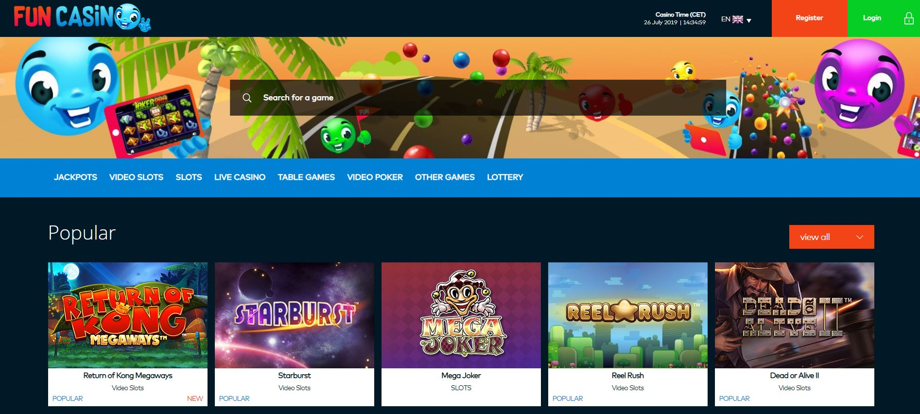 Home Page at FUN Casino