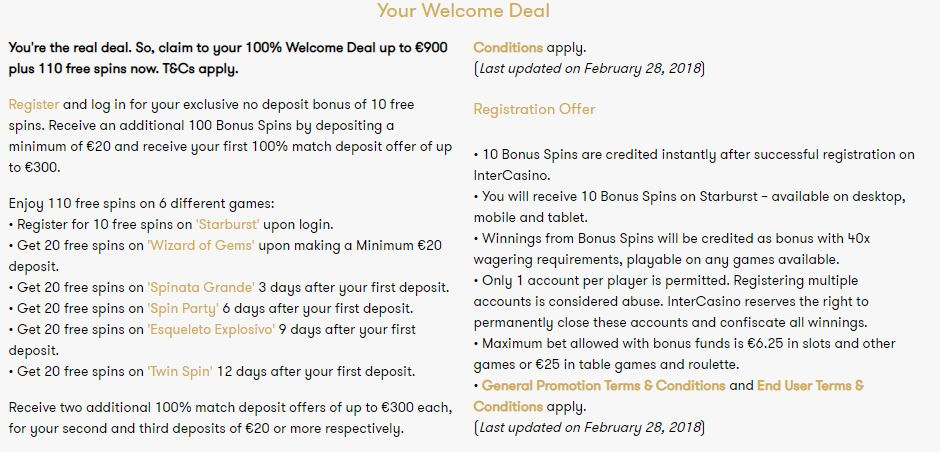 InterCasino Welcome Bonus Package