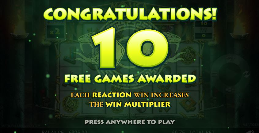 Free spins awarded in Medusa Megaways