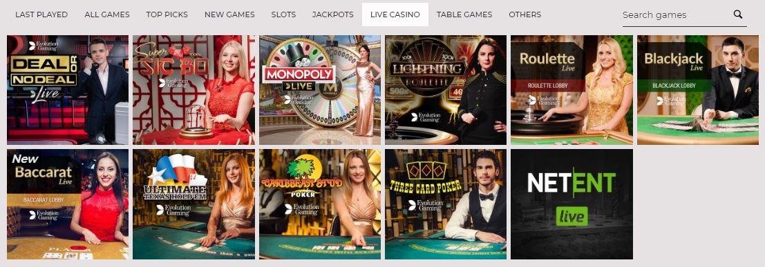 Live casino at NYSpins