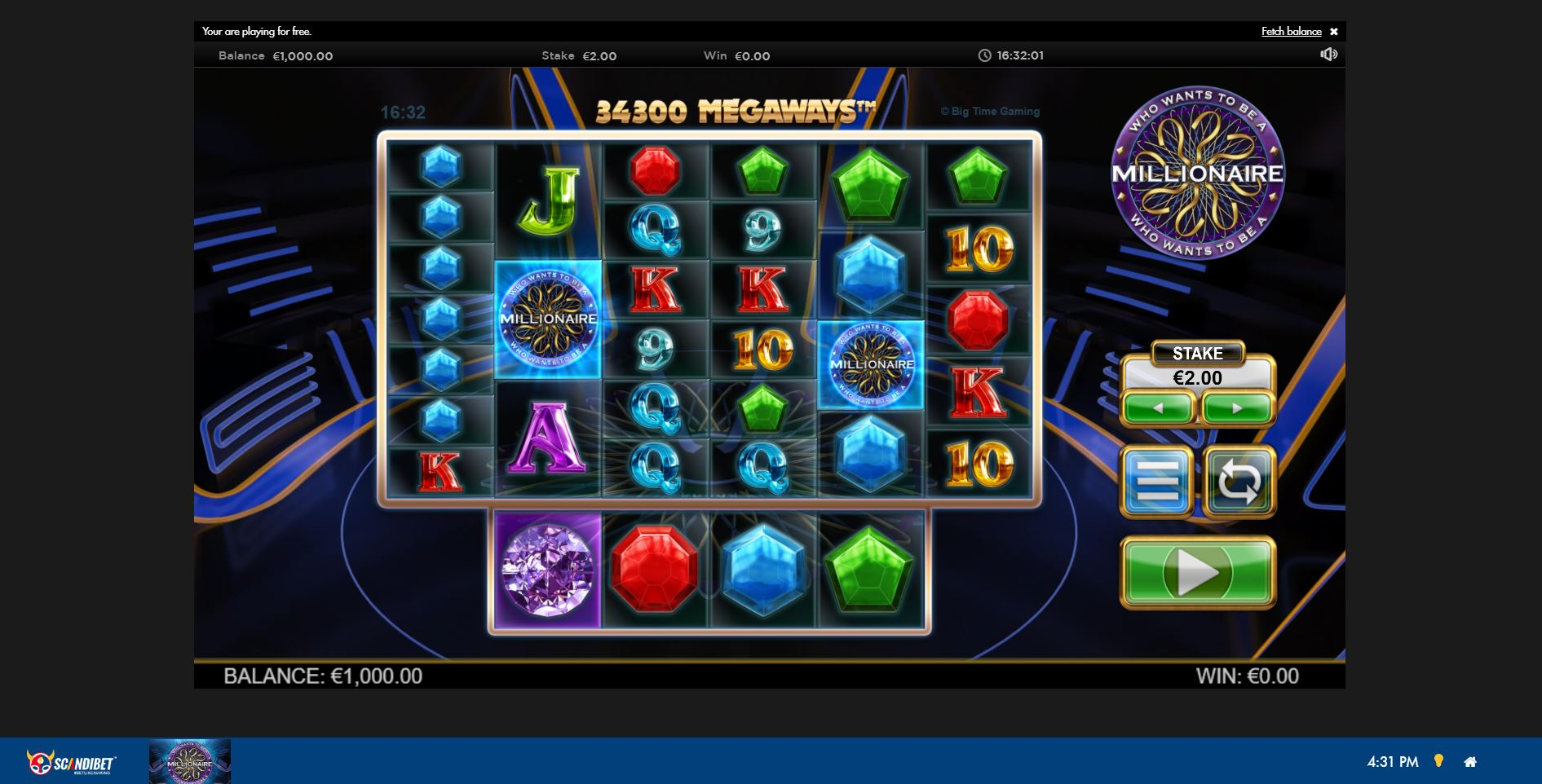 Game Play Page at Scandibet