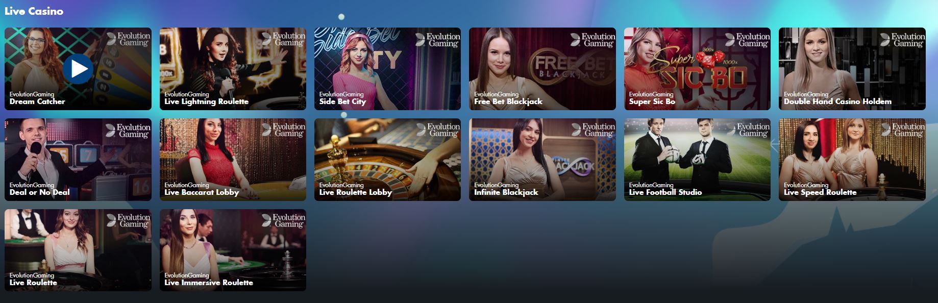 Live Casino Lobby at Scandibet