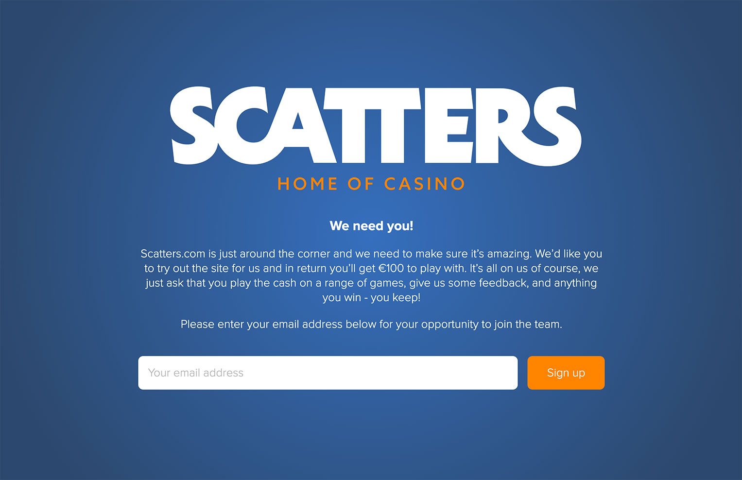 Scatters casino needs you