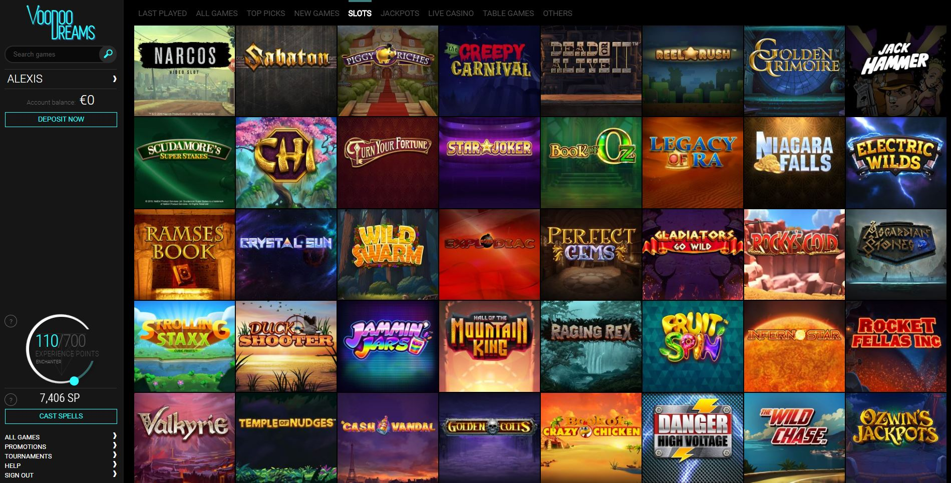 Slots Lobby at Voodoo Dreams Online Casino