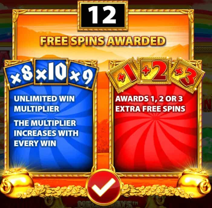Rainbow Riches megaways free rounds entry screen