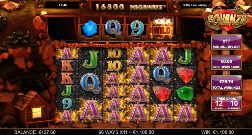 Free Spins 96 Aces win on Bonanza