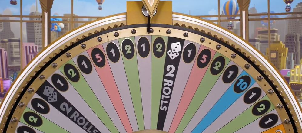 Half of the wheel in Monopoly Live