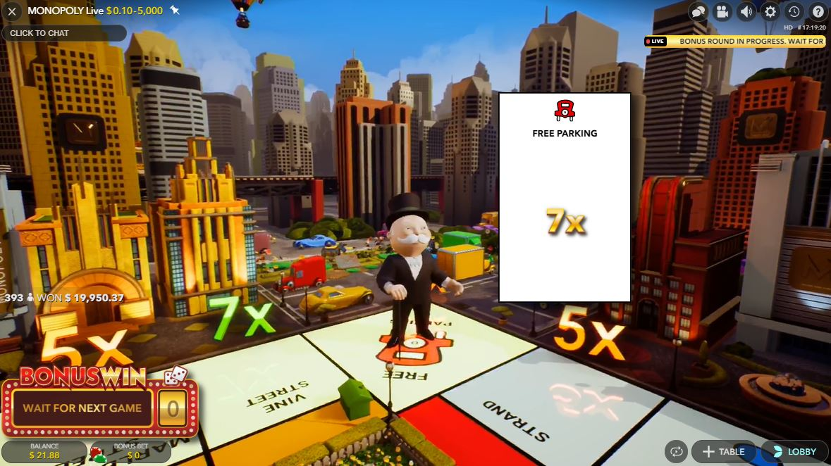 Free Parking in Monopoly Live