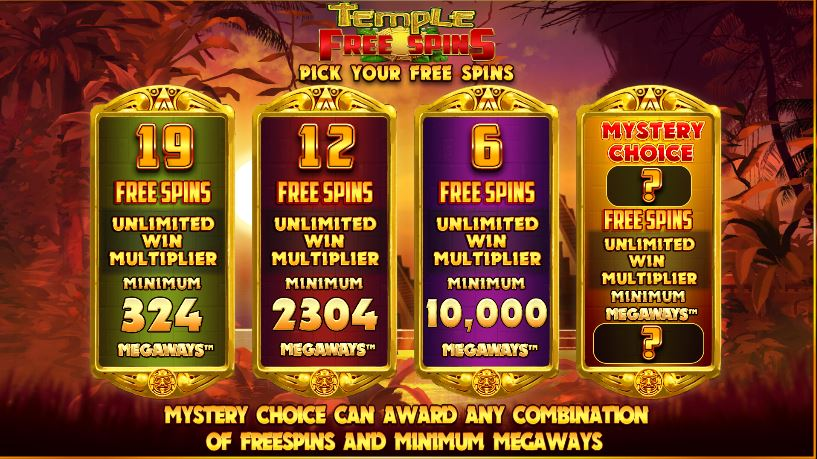 Five Scatters Free Spins in Temple of Treasure