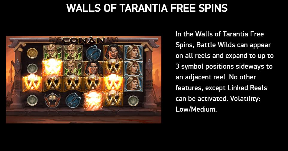 Walls of Tarantia Free Spins in Conan