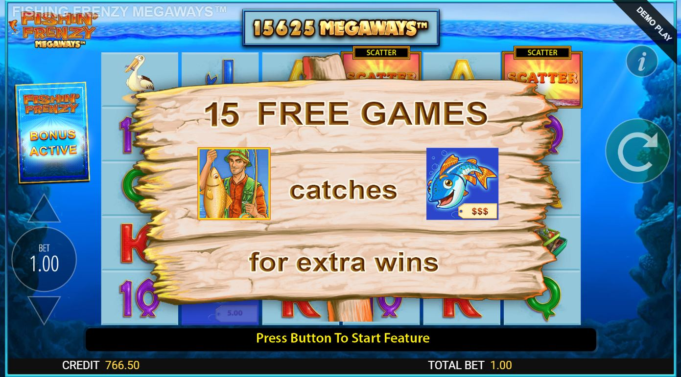 15 free spins won in Fishin' Frenzy Megaways