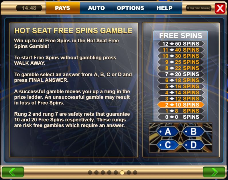 Hot seat inWho wants to be a Millionaire Megaways