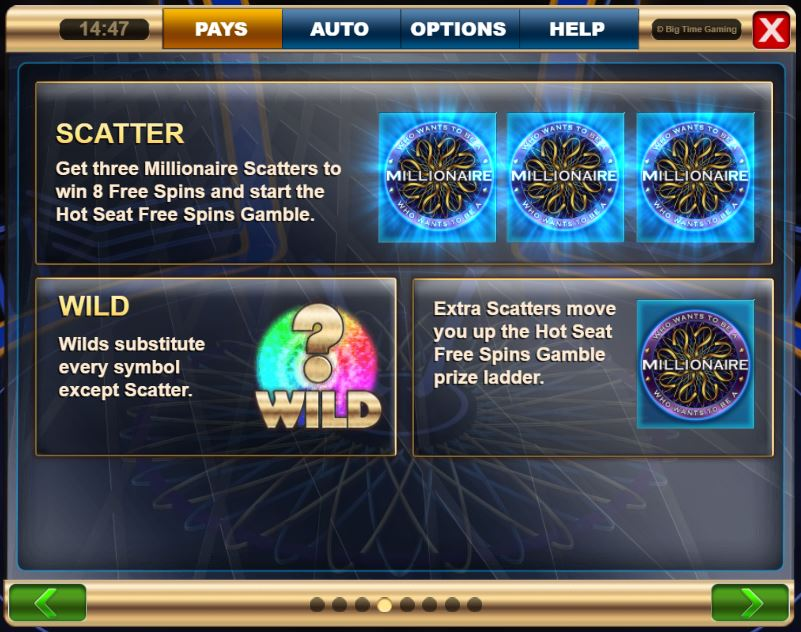 Scatters and Wilds in Who wants to be a Millionaire Megaways