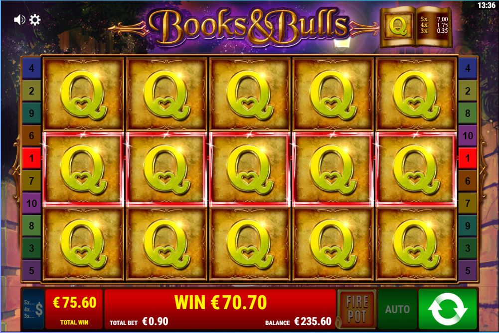 Books and Bulls bonus game fulll queens