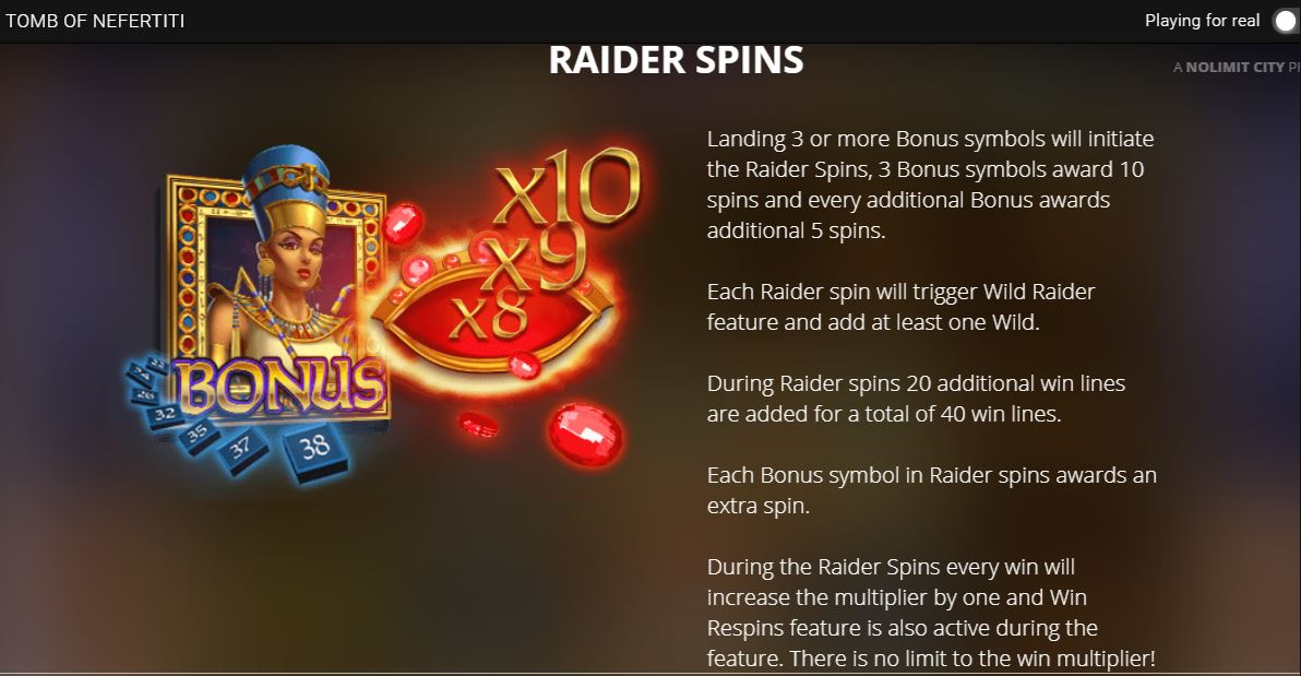 tomb of nefertiti raider spins